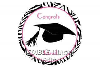 GRADUATION CAP PINK ZEBRA PRINT Edible Party Cake Image Cupcake Topper