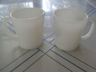 Vintage Anchor Hocking Fire King Ware D Handle Coffee Cup White *PAIR*