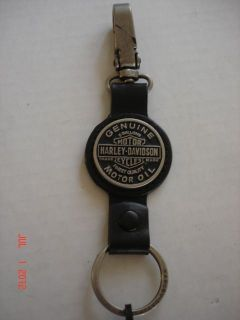 Harley Davidson  Mens Oil Can Key Fob, Genuine Leather