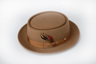 New Mens Camel Tan Beige Pork Pie Wool Hat All Sizes