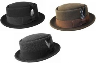 Mens 100 % Wool Felt Soft & Crushable Pork Pie Fedora Hats HE09