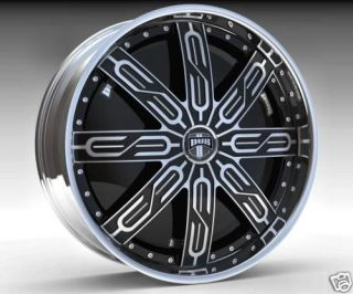 26 DUB SPIN Tycoon Wheel SET 26x10 Black Chrome Spinner Rims RWD 5