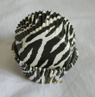 50 Black and white zebra cupcake liners bake paper cup muffin cases