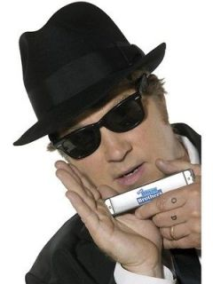 Blues Brothers Costume Accessory Kit Hat, Sunglasses, Harmonica *New*