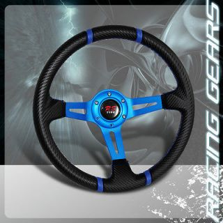 320mm Deep Dish Carbon Fiber Style PVC Leather Steering Wheel Integra