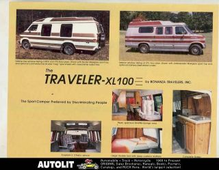 1986 1987 Bonanza Traveler XL100 Dodge Ford Conversion Van Motorhome