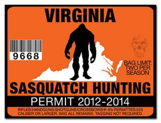 Hunting Permit License Decal Sticker Chevy Dodge Truck 2500 VIRGINIA