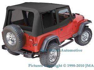 88 95 JEEP WRANGLER BLACK SOFT TOP + UPPER SKINS (Fits Jeep)