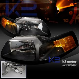 1999 2004 MUSTANG V6 GT HEADLIGHTS BLK CLEAR LENS PAIR (Fits Mustang)