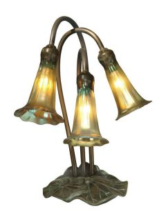 Dale Tiffany 1704/268 Antique Bronze / Verde Victorian 3 Light Lily
