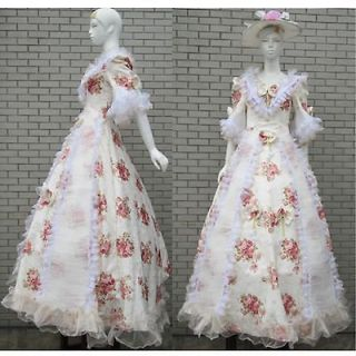 Cute Ivory Rose Floral Civil War Southern Belle Ball Gown Prom Dress