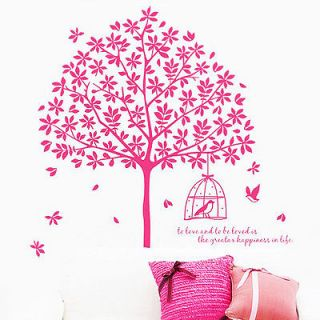 Removable Wall Stickers Art Decor Decals Tree Bird Cage Colorful Maple