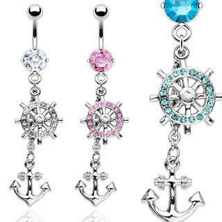 Anchor Ship Wheel CZ Gem Belly Ring Navel Naval Clear, Pink, Aqua