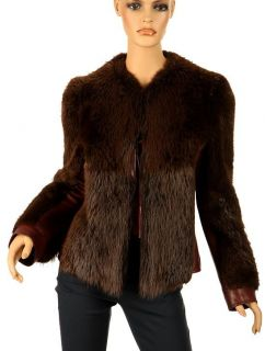 DOLCE & GABBANA GORGEOUS BURGUNDY BROWN BEAVER & LEATHER FUR JACKET 44