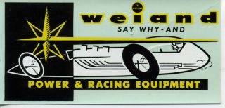 VTG WEIAND POWER RACING EQUIPMENT WATER DECAL HOT ROD DRAG SPEED SHOP