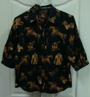 RALPH LAUREN EQUESTRIAN HORSE RIDING DRESSAGE BLOUSE TOP SHIRT WOMENS