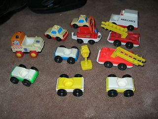 VINTAGE LITTLE PEOPLE VEHICLES FIRE TRUCKS CARS AMBULANCE POLICE GREAT