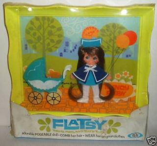 4527 NRFB Vintage Ideal Nancy Flatsy w/Baby & Carriage Frame