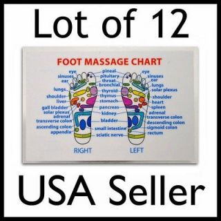 LOT of 12 REFLEXOLOGY FOOT MASSAGE WALLET SIZE REFERENCE CARD Chart