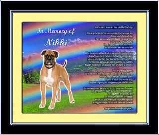 Boxer​ Personalized w/Dogs Name Rainbow Bridge Poem#1 Unique Gift