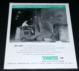1945 OLD WWII MAGAZINE PRINT AD, TOWMOTOR, FORK LIFT, ONE MAN GANG
