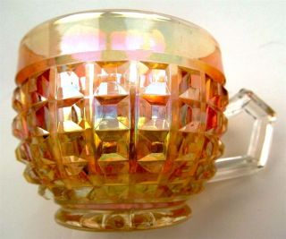 WAFFLE BLOCK by IMPERIAL ~ CLAMBROTH PASTEL CARNIVAL GLASS PUNCH CUPS
