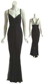 MARCHESA NOTTE Silk Chiffon Black Long Gown Dress 8 NEW
