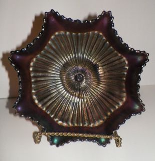 NORTHWOOD AMETHYST CARNIVAL GLASS STIPPLED RAYS RUFFLED BOWL