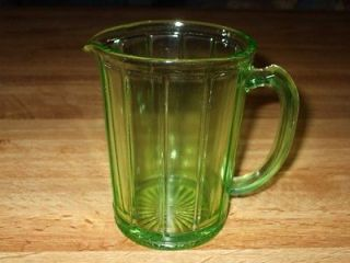Vintage Green Depression Glass Vaseline Pitcher~Great Glow