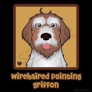 Wirehaired Pointing Griffon Cartoon Heart Womens T Shirt   Ladies S