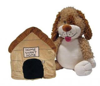HAPPY NAPPERS 21 Tan Plush DOGHOUSE to PUPPY DOG Pillow & Play Pal