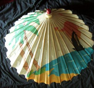 Vintage Tropical Island & sailboat bamboo & paper umbrella, parasol
