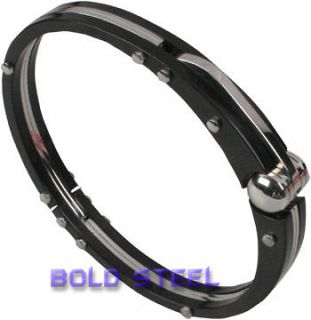 BLACK Handcuff Men Stainless Steel BANGLE Bracelet USA