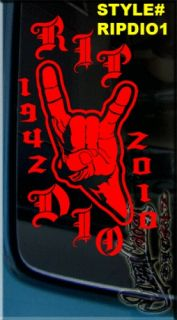 MEMORY OF VINYL DECAL RONNIE JAMES DIO METAL GOD RIP HEAVY METAL HORNS