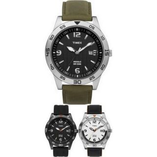 Timex Mens Sport Watch Black Resin/Black Leather/Green Leather Strap