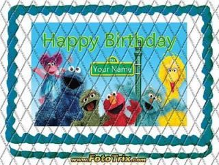 Edible Kosher Birthday Decoration 1/4 Sheet Cake Topper Sesame Street