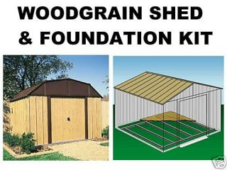 10 X 8 WOOD GRAIN STEEL STORAGE SHED & FOUNDATION KIT