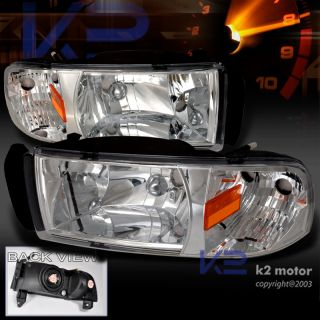 RAM 1500 1PC CRYSTAL HEADLIGHTS CHROME (Fits 1996 Dodge Ram 1500