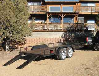 20 Flatbed Car Hauler Trailer, 16 bed, 20 overall, twin axle
