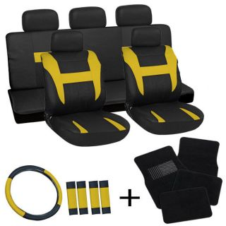 20pc Set Yellow Black Auto Car Seat Covers Wheel+Belt Pads+Head Rests