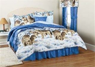 Blue White Wolf Wolves Lodge Cabin Queen Comforter Set