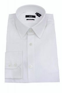 Hugo Boss Mens Dress Shirt Solid White Enzo or Harrison 100% Cotton