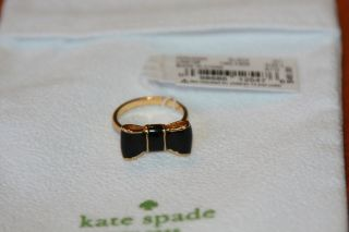 NWT Kate Spade Jewelry Gold Plated Take a Bow Ring Black Size 6