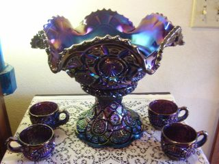 Carnival Glass Punch Bowl in Contemporary (1940 Now)