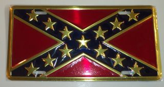 States Gold Rebel CSA Flag Metal License Plate Auto Car Tag 6x12
