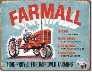 Model C International Harvester 1950 Farm Tractor Metal Ad Tin Sign