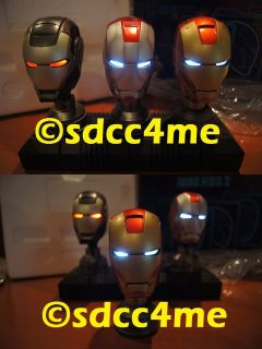 SDCC Exclusive Iron Man Helmet Light Up Bust Set of 3 Mark V, IV & WM