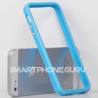 iPhone 5 5G Baby Blue Solid w/ Buttons Bumper Soft Case Silicon Cover