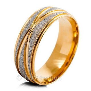 Size 8 12 MENS Gold Stainless Steel Striped Scrub Rings Wedding Band