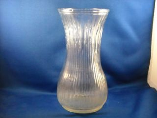 VINTAGE HOOSIER CLEAR RIBBED GLASS VASE # 4086 A